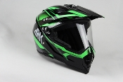 ADULT OFF-ROAD HELMET W128-GREEN WITH FACE SHIELD
